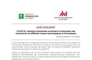 Avis conjoint : Précisions importantes concernant la transmission des ordonnances via différents moyens technologiques et informatiques