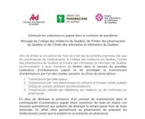 Diminuer les ordonnances papier dans le contexte de pandémie