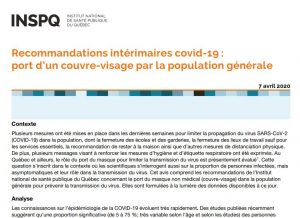Recommandations intérimaires covid-19 : port d'un couvre-visage par la population générale