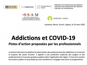 A pamphlet written in French about Addiction and COVID-19