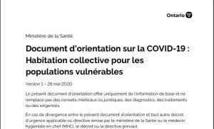 Document d'orientation sur la COVID-19 : Habitation collective pour les populations vulnérables