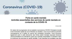 Fiche en santé mentale Activités essentielles des services de santé mentale en contexte de la COVID-19