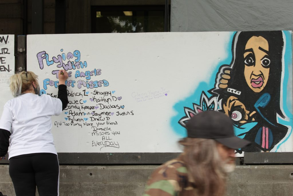 "International Overdose Awareness Day mural by ""Smokey Devil""; Vancouver; Aug. 31, 2020"