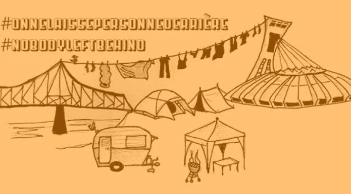 An illustration of a tent, bridge and trailer