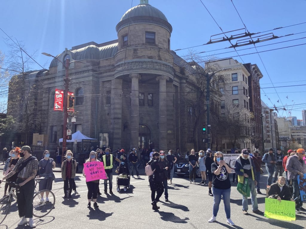 Safe supply rally; Vancouver; 2021